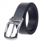 Rich Age Fashionable Both Sides Men's Cow Split Leather Belt - Black + Silver