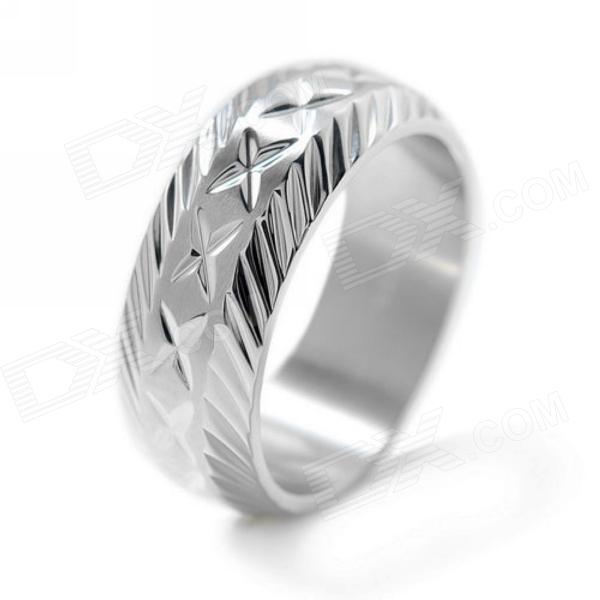 eQute RSSM12S8 Fashionable Titanium Steel Men's Ring - Silver (USA Size 8)