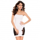 LC2762-1 Stylish Sexy Ruffle Mesh Hollow Out Strapless Dress for WOMEN - White + Black (Free Size)
