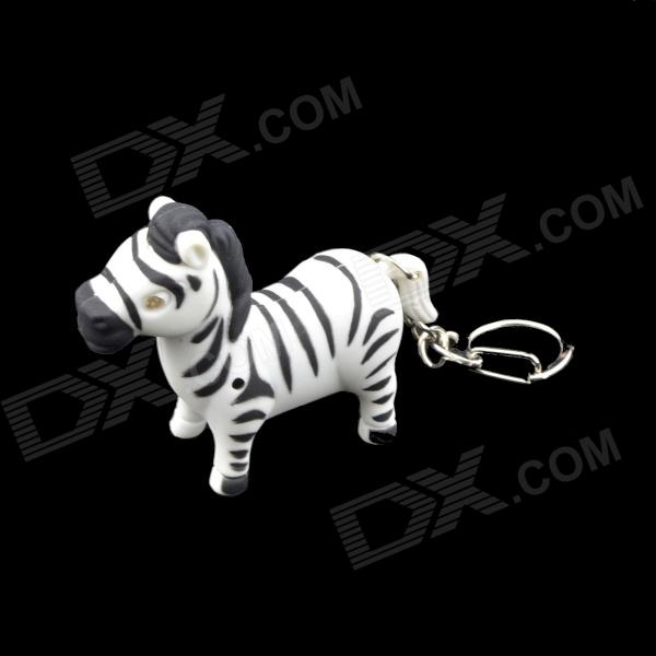 Luminous 2-LED Blue Light Zebra Keychain w/ Sound Effect - White + Black (3 x AG10)