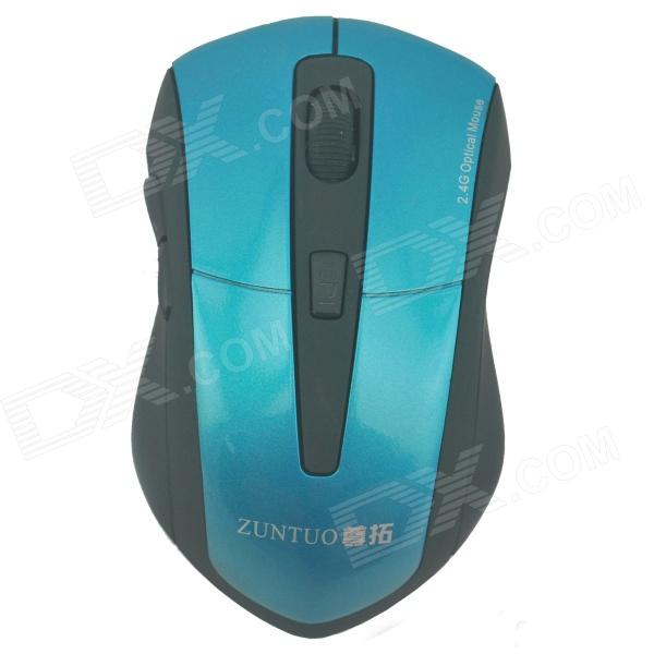 ZUNTUO ZT-301-LANSE 2.4GHz 800 / 1200 / 1600 / 2000dpi Wireless Optical Mouse - Black+Blue (2 x AAA) zuntuo zt 302 heise 2 4ghz 800 1200 1600 2000dpi wireless optical mouse black blue