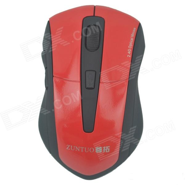ZUNTUO ZT-301-HONG 2.4GHz 800 / 1200 / 1600 / 2000dpi Wireless Optical Mouse - Black + Red (2 x AAA) zuntuo zt 302 heise 2 4ghz 800 1200 1600 2000dpi wireless optical mouse black blue