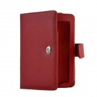 Thin Portable Protective PU Leather Case w/ Card Holder Slot for Amazon Kindle Paperwhite - Red