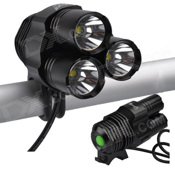 SingFire SF-800 2400lm 4-Mode White Bike Light Flashlight w/ 3 x Cree XM-L T6 - Black (4 x 18650) sky ray s6 4 mode 2200lm white light bicycle bike lamp w 3 x cree xm l t6 black 4 x 18650