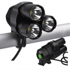 SingFire SF-800 3 x Cree XM-L T6 2400lm 4-Mode White Bike Light Flashlight - Black (4 x 18650)