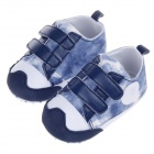 Double Velcro Cotton Baby Shoes - Deep Blue + White (3~6 Months / Pair)
