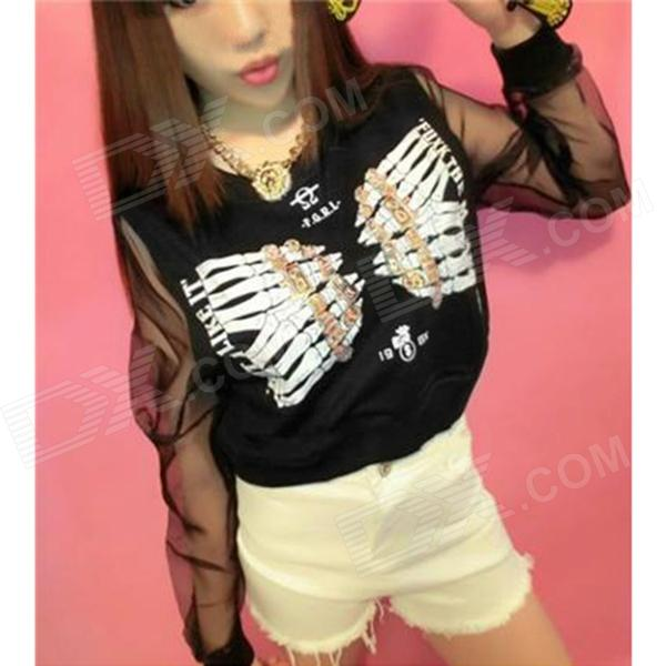 Skeleton Fingers Pattern Gauze Long Sleeves T-shirt for Women - Black