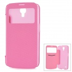 Protective PU Leather Case w/ Sleep Mode / Display Window for Samsung Galaxy Mega i9200 - Pink