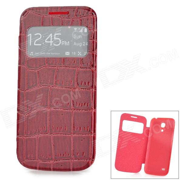 Crocodile Skin Style PU Leather Case w/ Display Window for Samsung Galaxy S4 Mini i9190 - Red Brown cool snake skin style protective pu leather case for samsung galaxy s3 i9300 brown