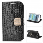 Protective PU Leather Case w/ Rhinestone Decoration Close Button for Samsung Galaxy S3 i9300 - Black