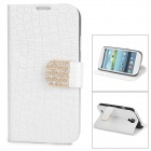 Protective PU Leather Case w/ Rhinestone Decoration Close Button for Samsung Galaxy S4 i9500 - White