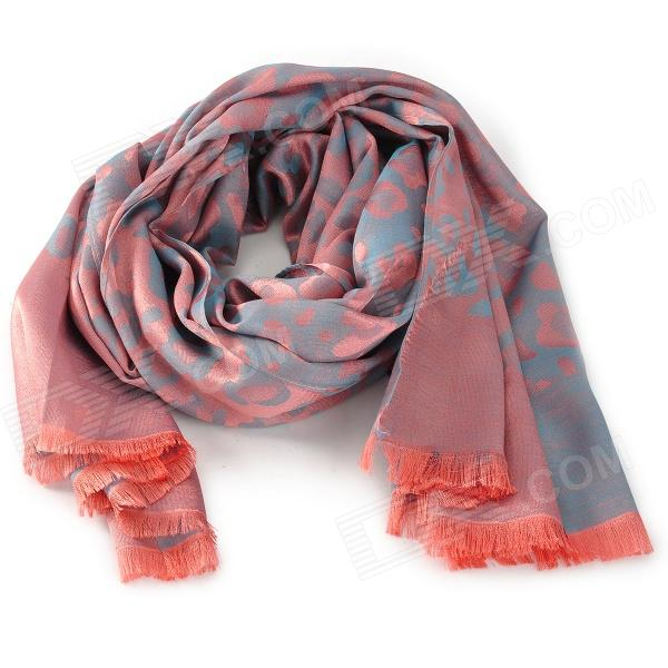 ZEA-WJ-001 Fashion Leopard Pattern Tassels Voile Scarf Shawl for Women - Pink + Grey