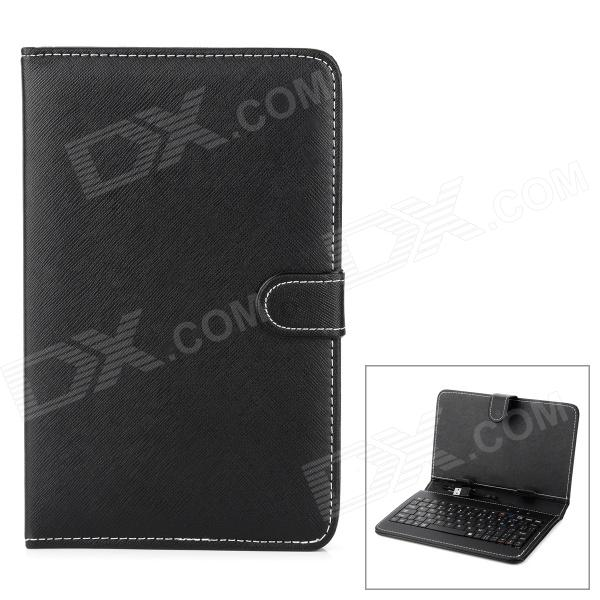 """REKB002 Universal USB Keyboard PU Leather Case w/ Holder for 7"""" Tablet PC - Black (French / English)"""