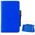 Protective 2-Fold PU Leather Case w/ Stylus for Google Nexus 7 - Blue