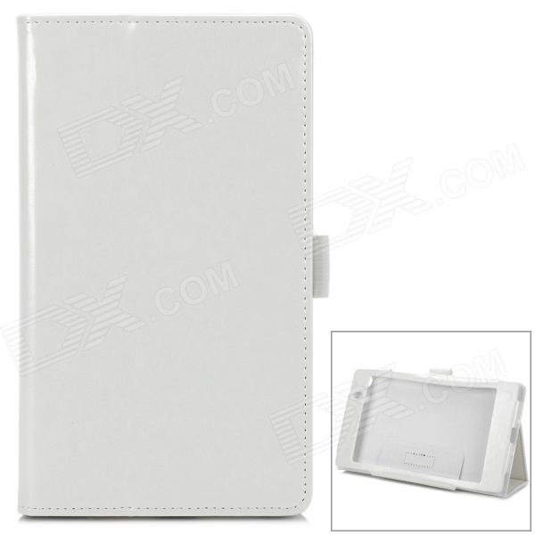 Protective PU Leather Flip-Open Case for Google Nexus 7 - White protective pu leather flip open case for google nexus 10 white