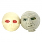 Alien Style Eyes Pop Out Stress Reliever Rubber Squeeze Toy - Beige + Grey (2 PCS)