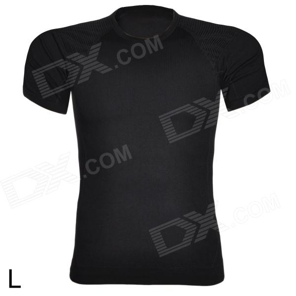 ARSUXEO Sports Running Polyester Short Sleeve Tight Shirt - Black (Size L) arsuxeo ar608s quick drying cycling polyester jersey for men fluorescent green black l