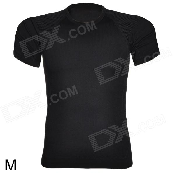 ARSUXEO Sports Running Men's Polyester Short Sleeve Tight Shirt - Black (Size M)