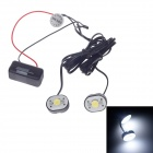 SAXO SK-006 1W 30lm 6000K 2-LED White Light Automobile Decorative Lamp - Black (12V)