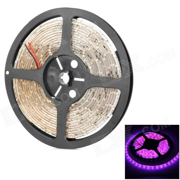 HML 24W 380nm 600lm 300-3528 SMD LED Light Pink flexível Lamp Strip - Branco + Preto (5m)