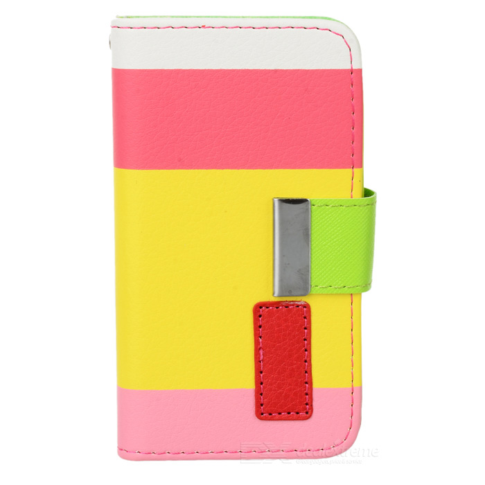 Stylish Protective PU Leather Case for Iphone 4 / 4S - White + Deep Pink + Yellow + Pink stylish bubble pattern protective silicone abs back case front frame case for iphone 4 4s