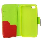 Stylish Protector PU Leather Case para Iphone 4 / 4S - Branco + Deep Pink + Amarelo + Rosa