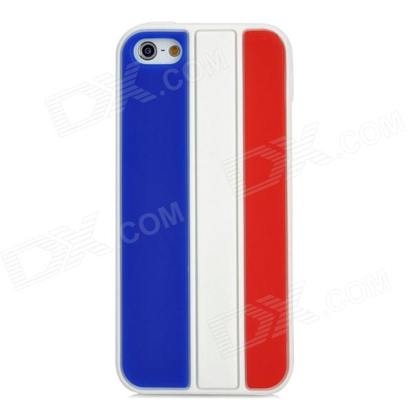Stylish Protective Silicone Back Case for iPhone 5 - White + Blue + Red