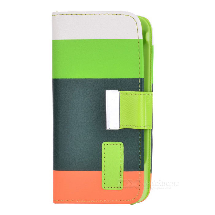 Stylish Protective PU Leather Case w/ Hand Strap for Iphone 5 - White + Green + Orange protective pu leather case for iphone 5 w d buckle closure white