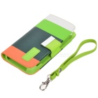 Stylish Protective PU Leather Case w/ Hand Strap for Iphone 5 - White + Green + Orange