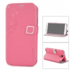 HELLO DEERE Protective PU Leather Case for Samsung Galaxy S4 - Pink