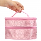 WuHua 641-35 Letters Pattern Waterproof Foldable Dual-layer Nylon Make-up Bag - Pink