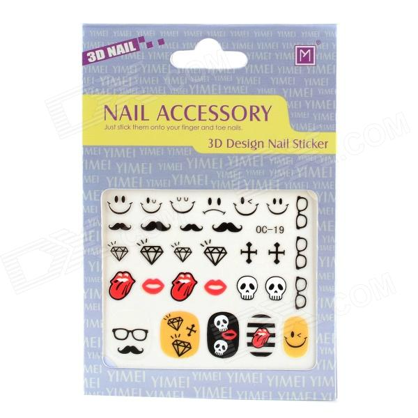 OC-19 Stylish Smile Face + Glass + Lip Pattern Nail Art DIY Stickers - Multicolored
