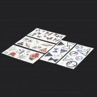 YM-T081-T085 Waterproof Temporary Body Tattoo Stickers - Black + White + Red + Blue (5 PCS)