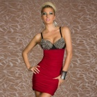 LC2680-3 Fashionable Punk Rivets Bra Top Club Dress for Women - Red + Black (Size M)