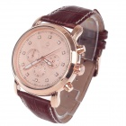 ORKINA P0031 Stylish Six Stitch Stopwatch Rhinestone Dial Men's Quartz Wrist Watch - Brown + Coppery