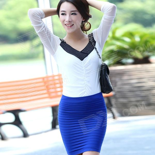 LC71029-1 Female Fashionable Thick Fold Tight-Fitting Skirt - Blue (Free Size)