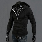 Cultivate One's Morality Fleece Hooded Cardigan for Men - Black (Size-L)