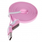Flat 30-Pin Male to USB 2.0 Male Data Sync / Charging Cable for iPhone 4 / 4S / iPad 2 / 3 - Pink