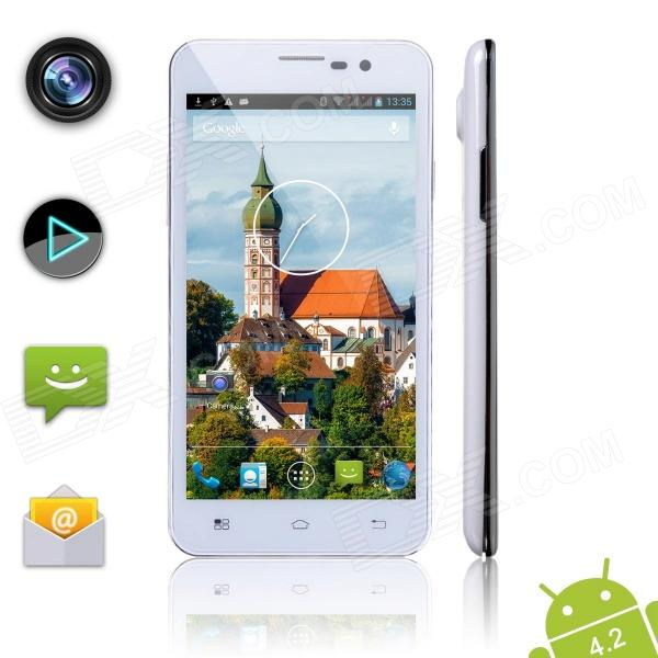 "POMPking2 W99A Quad-Core Android 4.2 WCDMA Smart Phone w / 5.0 ""IPS, Wi-Fi, GPS et Dual-SIM - blanc"