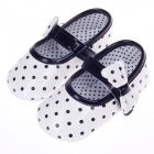 Cute Round Dot Pattern Bowknot Baby Shoes - Black + White (3~6 Months / Pair)