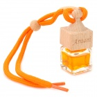 Car Hanging Perfume Essential Oil Bottle - Orange + Wooden (Cologne Scent / 10mL)