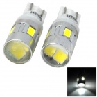 SENCART T10 1W 80lm 6200K 6-SMD 5730 LED White Car Signal Light (12~14V / 2 PCS)