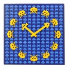 GeeKCook GK1310026 Space Invaders Pattern Wall Clock - Yellow + Blue (1 x AA)