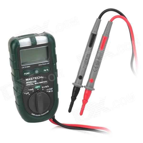 MASTECH MS8232B 400mA 600V 40M ohm 100uF Autoranging Mini Digital Multimeter - Green + Grey