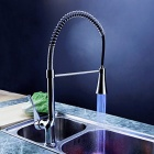 YDL-F-0504 High Quality Copper Hot / Cold Pull-out Kitchen Sink Classic Spring Faucet - Silver