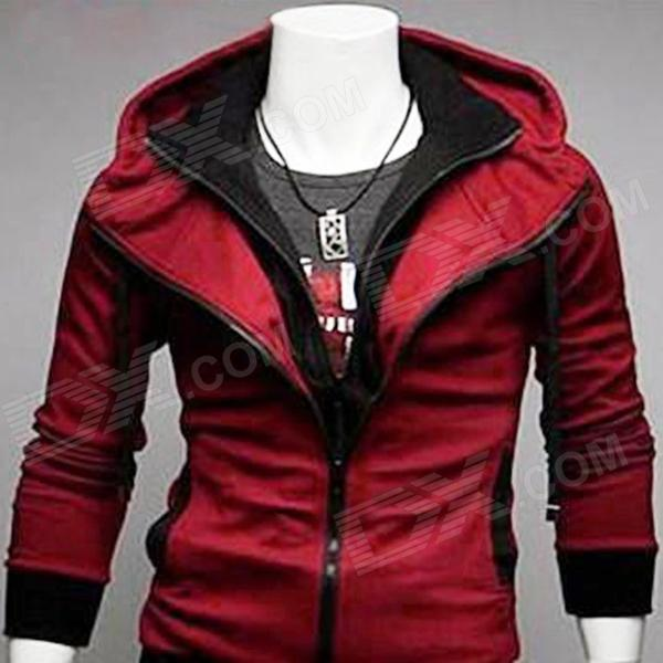 Casual Cotton   Polyester Jacket w/ Hood for Men - Red   Black (XL ...