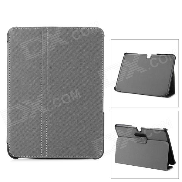 Stylish Flip-open PU + Plastic Case w/ Auto Sleep + Holder for Samsung Galaxy Tab 3 P5200 - Gray - DXTablet Cases<br>Brand N/A Quantity 1 Piece Color Grey Material Plastic + PU Style Cases with Stand Type For Tablets Compatible Model Samsung Galaxy Tab 3 P5200 Other Features Protects your device from dust shock scratch and abrasion; with holder for handsfree viewing angle and auto sleep function for longer using time. Packing List 1 x Case<br>