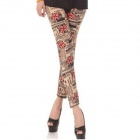 ZEA-JFK-2 Fashion Elastic Cotton Leggings for Women - Black + Red + Apricot