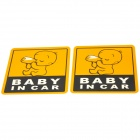 "LYC200 ""Baby In Car"" Pattern Decorative PVC Car Warning Stickers - Yellow + White + Black (2 PCS)"