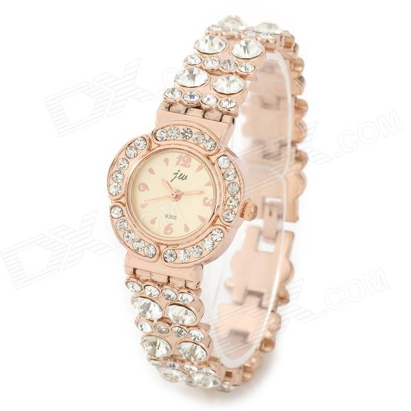 Fashion Stainless Steel + Rhinestones Quartz Analog Wrist Watch for Women - Golden (1 x 377) fashion stainless steel quartz analog wrist watch for women silver blue 1 x lr626